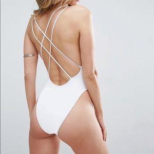 Cross Back High Leg Swimsuit